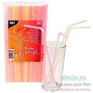 Соломка трубочка для коктейля 5х240 мм., pp флуоресцентный 100 шт., Papstar, пластиковый пакет