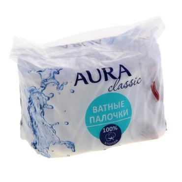 Ватные палочки 400 шт., Aura Beauty classic эконом, 80 гр., пластиковый пакет