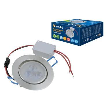 Светильник светодиодный встраиваемый. Дневной свет 6500 K. Корпус серебристый. Металл. ULM-Q262 3W/DW IP65 SILVER, Volpe, 141,67 гр., картонная коробка