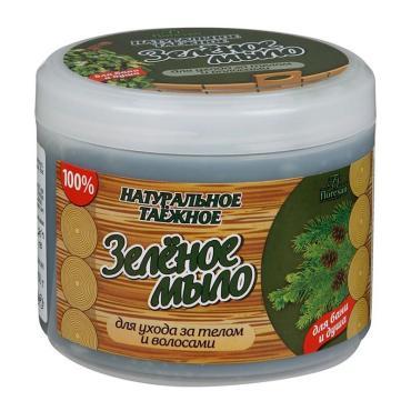 Мыло Зеленое таежное, для бани и душа, Floresan, 450 мл., Пластиковая банка