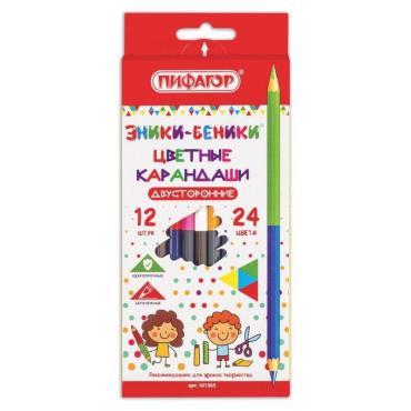 Карандаши двухцветные Пифагор Эники-Беники 12 штук, 24 цвета, заточенные, европодвес