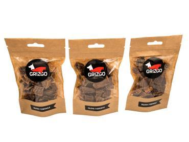 Лакомство для собак коричневое Grizgo легкое говяжье малое, 50 гр., дой-пак