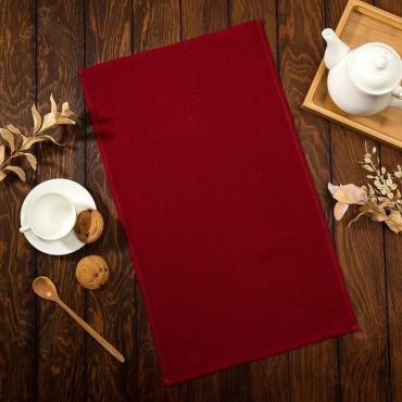 Полотенце Доляна цвет бордовый 35х60 сантиметров, 100% хлопок, крупная вафля