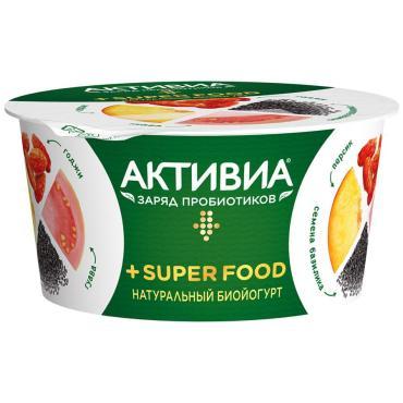 Биойогурт Активиа натуральный Super Food Персик гуава ягоды годжи семена базилика 2,4%