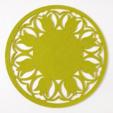Салфетка декоративная Доляна Тюльпаны диам. 30 см. 100% п/э фетр зеленый