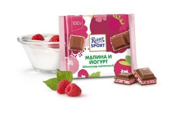 Шоколад Малина и йогурт молочный, Ritter Sport, 100 гр., флоу-пак