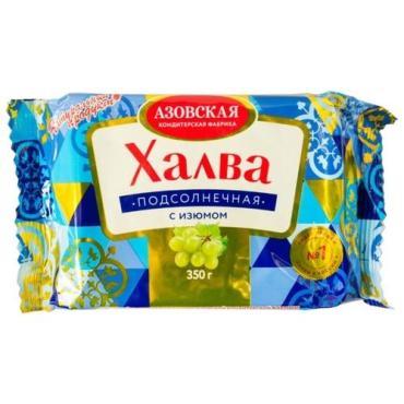 Халва подсолнечная с изюмом, Азовская КФ, 350 гр, флоу-пак