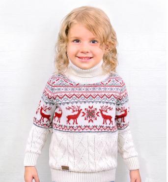 Свитер для девочки, 34-134, белый, красный, Golden Kids, Норд, Россия, пластиковый пакет