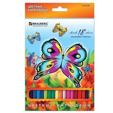 Карандаши цветные Brauberg Wonderful butterfly 18 цветов заточенные с блестками