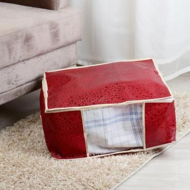 Кофр для хранения вещей Доляна Узоры 45×30×20 см. бордовый