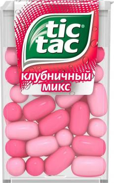 Драже Клубника, Tic Tac, 16 гр., Пластиковая коробка