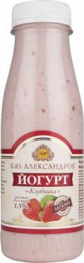 Йогурт Б.Ю. АЛЕКСАНДРОВ клубника 1,5% 290г