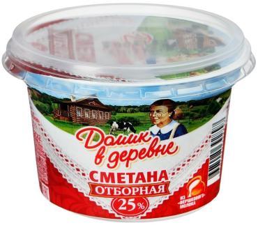 Сметана 25% Домик в деревне, 180 гр., пластиковый стакан