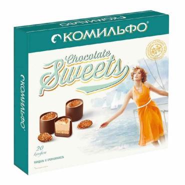 Конфеты Комильфо шоколадные Миндаль и крем карамель с двухслойной начинкой