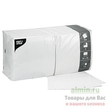 Салфетка бумажная 33х33 см., 3-слойная белый 250 шт., Papstar, пластиковый пакет