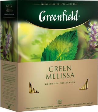 Чай пакетированный зеленый 100 пак., Greenfield Green Melissa, 150 гр., картонная коробка