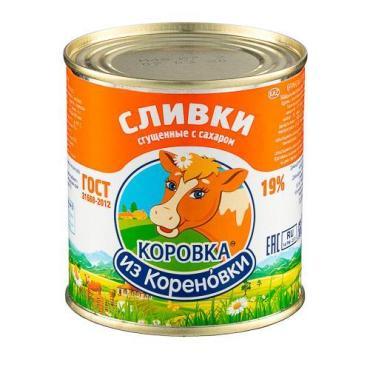 Сливки сгущенные с сахаром 19%, Коровка из Кореновки, 360 гр., банка