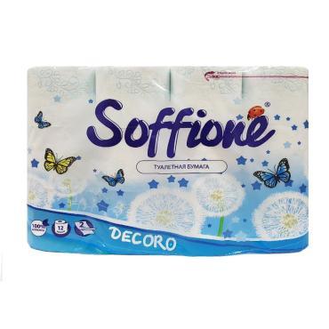 Туалетная бумага Soffione Decoro Blue 2 слоя 12шт.