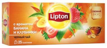 Чай черный Lipton Аромат банана и клубники 25 пакетов