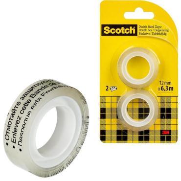 Клейкая лента Scotch Прозрачная 12мм 6,3 м 2шт
