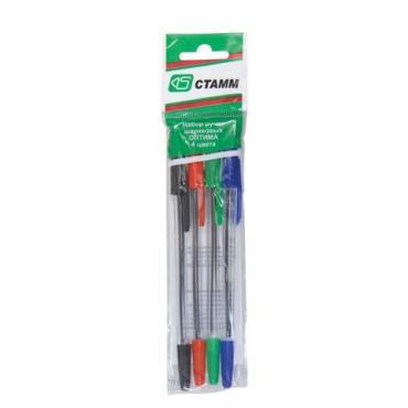 Ручки шариковые Стамм ассорти Оптима, узел 1,2 мм, линия письма 1 мм, 4 шт