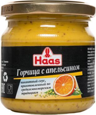 Горчица Haas с апельсином, 210 гр., стекло