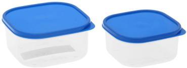 Набор контейнеров пищевых Доляна квадратных 450/700 мл. голубой 2 шт.