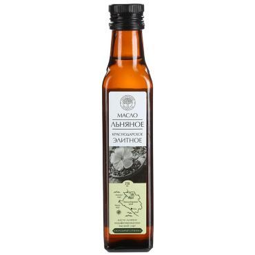 Масло льняное холодного отжима Натуральный продукт Краснодарское Элитное, 250 мл., стекло