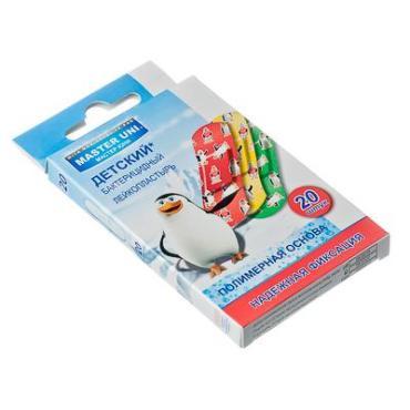 Лейкопластырь бактерицидный на полимерной основе Master uni kids, картонная коробка