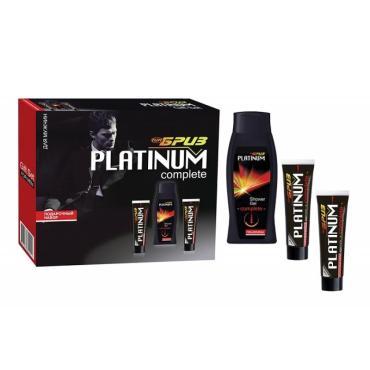 Подарочный набор Бриз №987-гель для душа+крем для бритья+бальзам после бритья, Timex Platinum Complete, 280 мл., картонная коробка