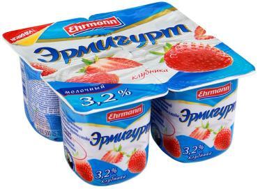 Йогурт Эрмигурт клубника 3,2% 4х115г
