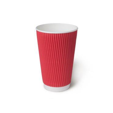Бумажный стакан, 450 мл (макс. 500 мл), двухсл., гофр. вертикаль, красный