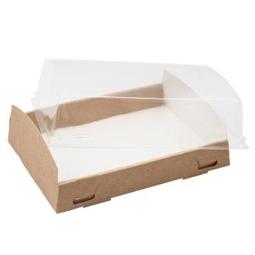 Коробка с прозрачной крышкой, 1000 мл, крафт