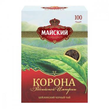 Чай Майский Корона Российской Империи, черный, листовой, 100 гр