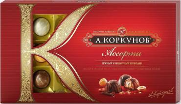 Шоколадные конфеты ассорти из темного и молочного шоколада А. Коркунов, 256 гр., картонная коробка