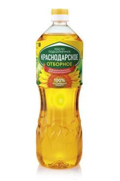 Масло подсолнечное рафинированное дезодорированное Краснодарское отборное, 1 л., пластиковая бутылка