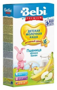 Каша Bebi Premium Пшеница яблоко банан молочная с 6 месяцев