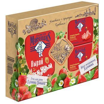 Набор подарочный: гель-пена для душа мыло туалетное, Le Petit Marseillais Клубника Прованса, 250 мл., картонная коробка