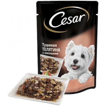 Корм влажный для собак Тушеная телятина с овощами Цезарь 100 гр., дой-пак