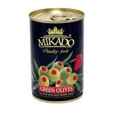 Оливки Mikado с красным перцем 314 гр., ж/б