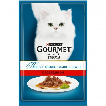 Корм влажный для кошек мини филе в подливе Говядина Gourmet