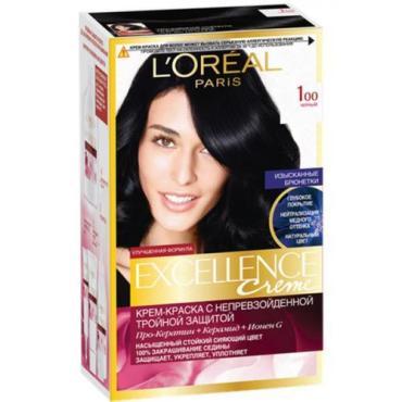 Краска для волос 100 Чёрный Excellence Creme 192 мл., Картонная коробка