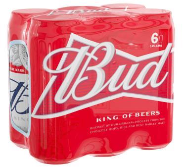 Пиво светлое пастеризованное 5% , Bud, 450 мл., ж/б
