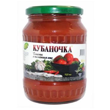 Томаты Кубаночка в томатном соусе , 680 гр, стекло