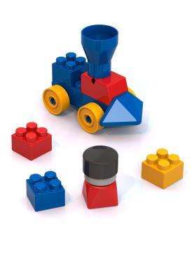 Конструктор с паровозиком/Нордпласт/509/синий,желтый,красный/30 × 25 × 5/