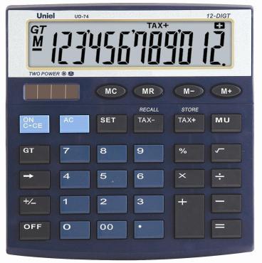 Калькулятор синий, UD-74B, Uniel, 190 гр., картонная коробка