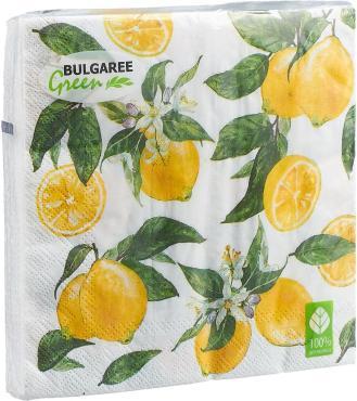 Салфетки бумажные 20 шт., 3-сл. 33 см.*33 см., Gratias Лимон, пластиковый пакет