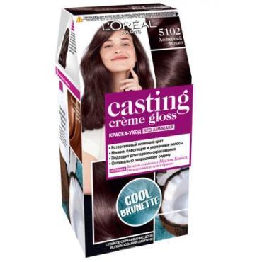 Краска для волос тон 5102 Холодный мокко без аммиака L'oreal Casting Creme Gloss, картонная коробка