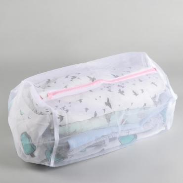 Мешок для стирки Доляна 22х22х33 см. мелкая сетка цветной замок