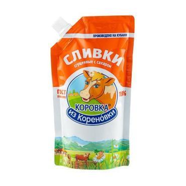 Сливки сгущенные с сахаром 19%, Коровка из Кореновки, 270 гр., дой-пак